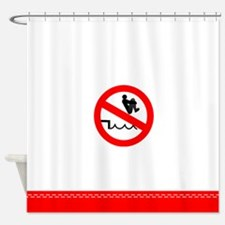 Funny no pool bombing Shower Curtain
