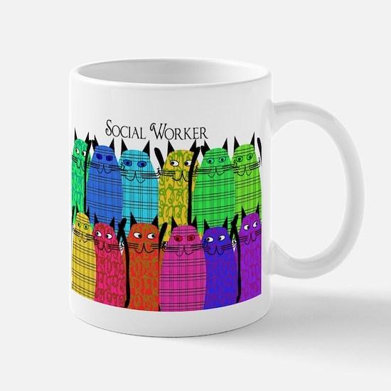 social worker cats horizi blanket.PNG Mug