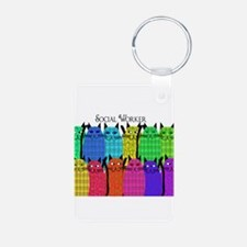 social worker cats horizi blanket.PNG Keychains