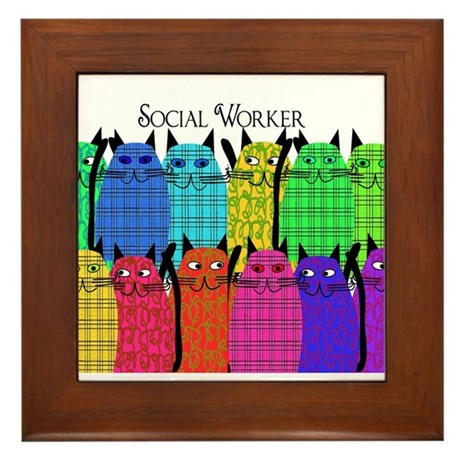 social worker cats horizi blanket.PNG Framed Tile