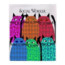 social worker cats 1.PNG Throw Blanket