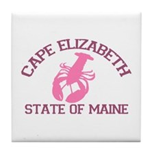 Cape Elizabeth ME - Lobster Design. Tile Coaster