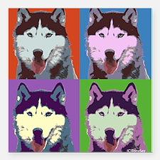 "Husky Pop Art Square Car Magnet 3"" x 3"""