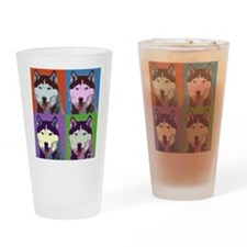 Husky Pop Art Drinking Glass