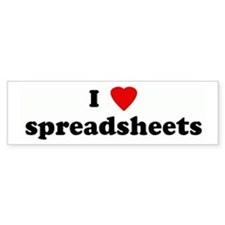 I Love spreadsheets Bumper Bumper Sticker