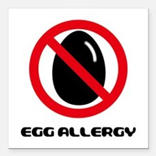 """Egg Allergy Square Car Magnet 3"""" x 3"""""""