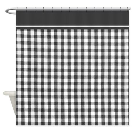 Black and white gingham shower curtain by inspirationzstore for Black and white shower curtain