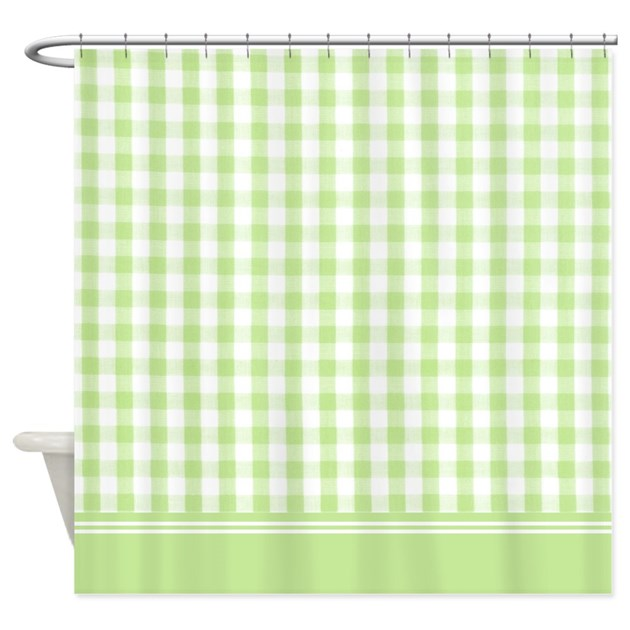 Green gingham shower curtain by InspirationzStore