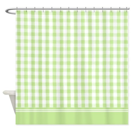 Green Gingham Shower Curtain