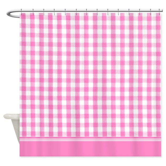 Gingham Curtains Red And White Gingham Curtains Kitchen: Pink Gingham Shower Curtain By InspirationzStore