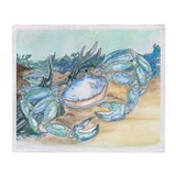 Blue crab throw or Fleece Blankets