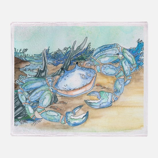 crab seaside beach throw Throw Blanket