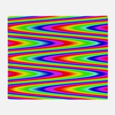 Psychedelic Rainbow Zig Zag Throw Blanket