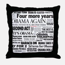 Obama Re-Elected Headline Throw Pillow
