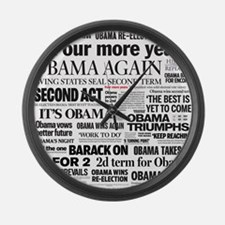 Obama Re-Elected Headline Large Wall Clock