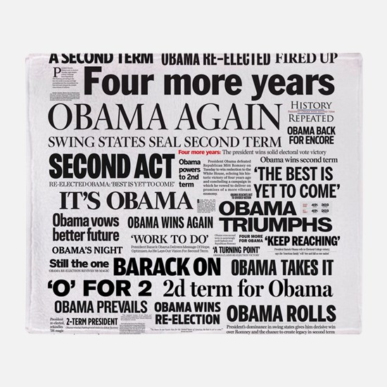 Obama Re-Elected Headline Throw Blanket