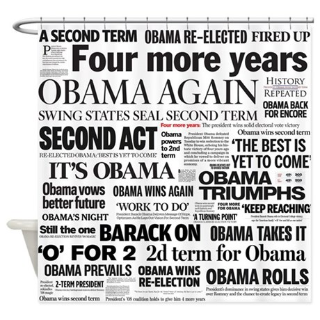 Obama Re-Elected Headline Shower Curtain