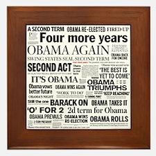 Obama Re-Elected Headline Framed Tile