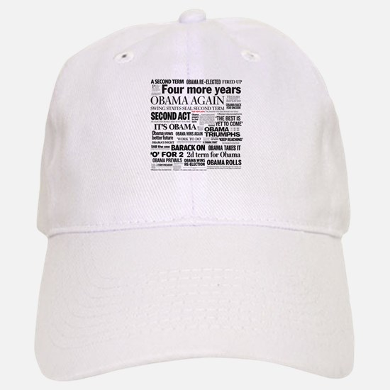 Obama Re-Elected Headline Baseball Baseball Cap