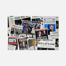 Obama Wins 2012 Newspaper Rectangle Magnet