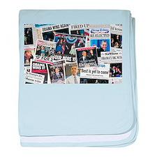 Obama Wins 2012 Newspaper baby blanket