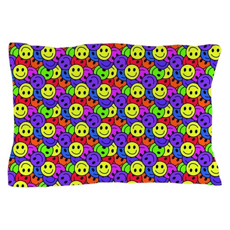 Rainbow Smiley Face Pattern Pillow Case