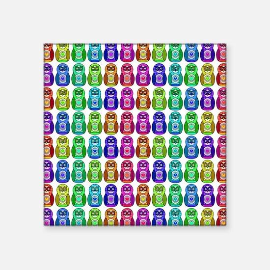 "Rainbow Matryoshka Owl Square Sticker 3"" x 3"""