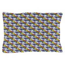 Kawaii Smiley Rainbow Pattern Pillow Case