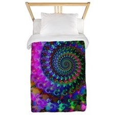 Psychedelic Rainbow Fractal Pattern Twin Duvet