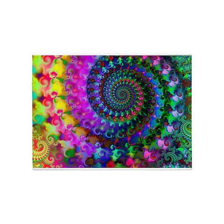 Psychedelic Rainbow Fractal Pattern 5u0027x7u0027Area Rug