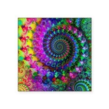 Psychedelic Rainbow Fractal Pattern Square Sticker