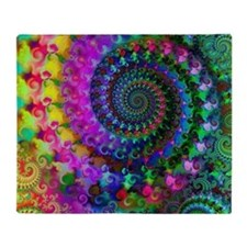 Psychedelic Rainbow Fractal Throw Blanket