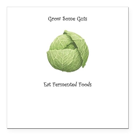 "Eat Fermented Foods Square Car Magnet 3"" x 3"""