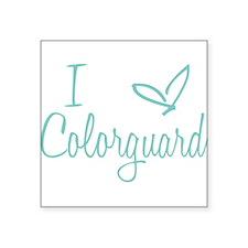 """I love Colorguard Square Sticker 3"""" x 3"""""""