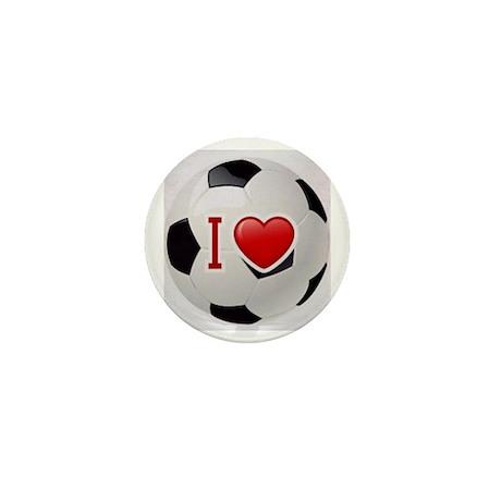 I Love Soccer Ball Mini Button (100 pack)