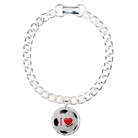 I Love Soccer Ball Charm Bracelet, One Charm