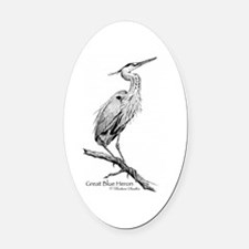 Great Blue Heron Oval Car Magnet