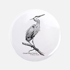 """Great Blue Heron 3.5"""" Button"""