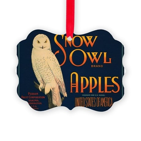 Snow Owl Apples Fruit Crate Picture Ornament