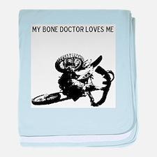 motocross my bone doctor loves me baby blanket