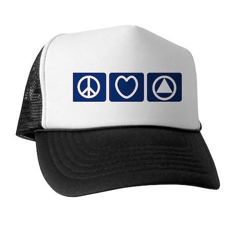 Peace Love Sobriety Trucker Hat