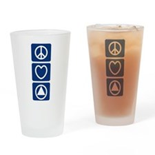 Peace Love Sobriety Drinking Glass