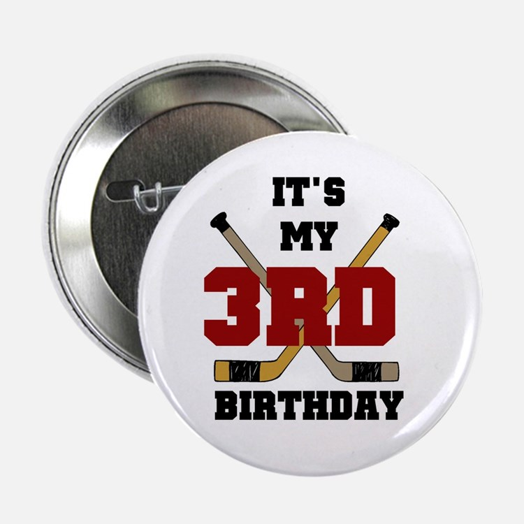 Hockey 3rd Birthday Button