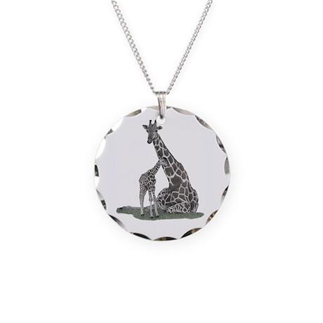 Giraffe Family Necklace Circle Charm