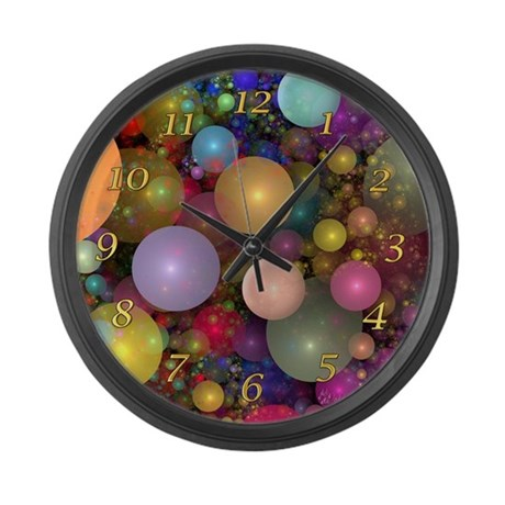 Fractal Bubbles Large Wall Clock