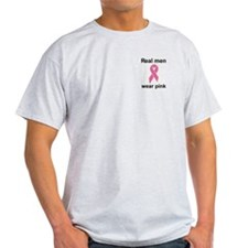 """Real men wear pink"" breast cancer Ash Grey T-Shir"
