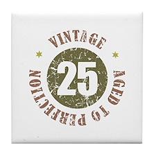 25th Vintage birthday Tile Coaster