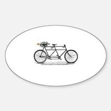 Tandem Bike Christmas Sticker (Oval)