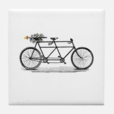 Tandem Bike Christmas Tile Coaster