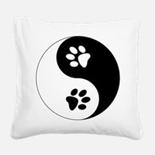 Yin Yang Paws Square Canvas Pillow